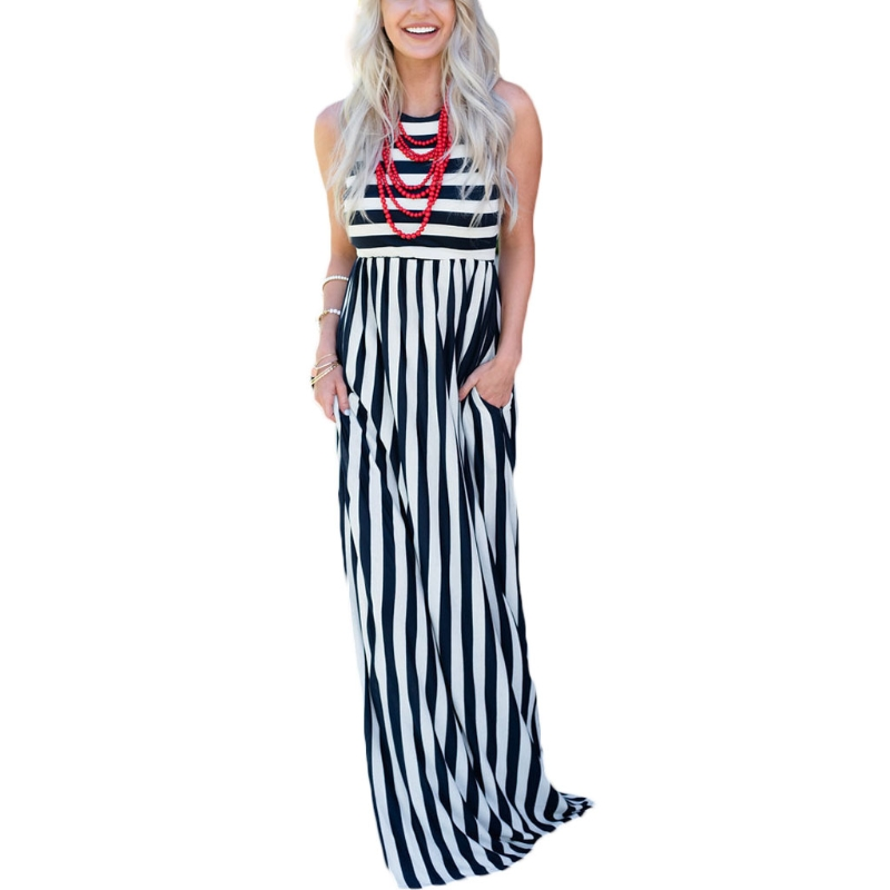 04e3de1a1ca23 Women's Summer Sleeveless Striped Pockets Flowy Casual Long Maxi Dress-in  Dresses from Women's Clothing on Aliexpress.com | Alibaba Group