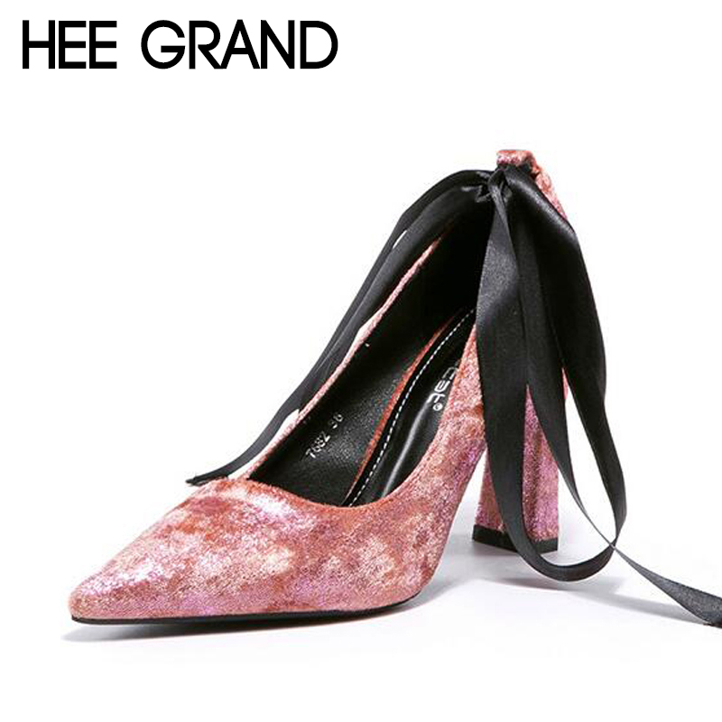 Hee Grand/женские туфли-лодочки на толстом высоком каблуке ленты галстук из флока вамп элегантные дамские каблук Стиль Для женщин модная обувь ...