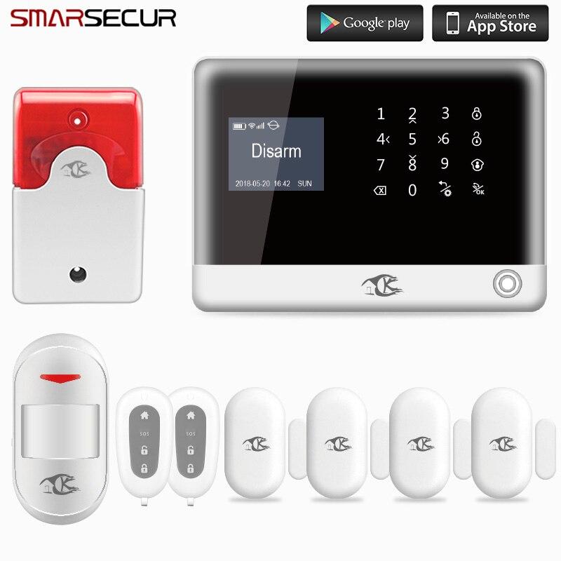 Smarsecur système d'alarme anti-intrusion sans fil pour la maison système de sécurité WiFi GSM