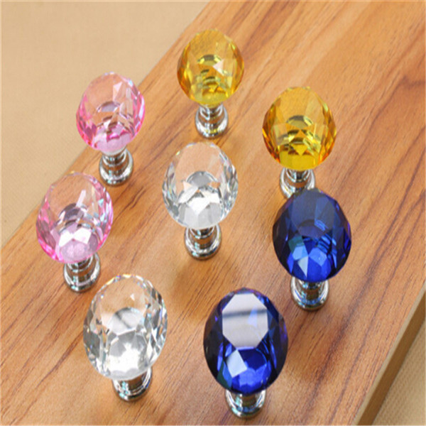 200PCS 30mm Zinc Alloy Clear Glass Crystal Glass Cabinet Knobs And Handles Dresser Knob Kids Pulls