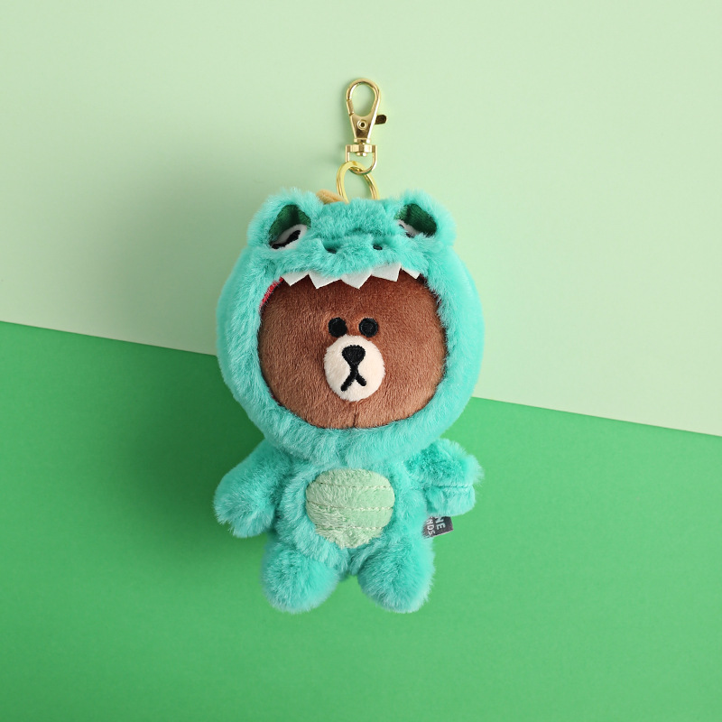 Cartoon Brown Bear Dinosaur Bear Giraffe Key Chain Women Bag Pendant Keychains Children's Backpack Hanging Plush Doll Key Ring