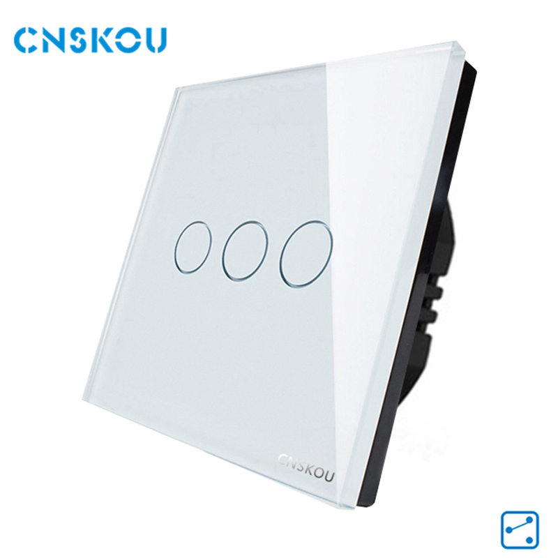 EU Standard 3Gang 2Way Electronic Touch Switch,White Gold Black Crystal Glass Panel,Smart Home, CNSKOU Manufacturer smart home white luxury crystal glass switch panel eu standard touch switch 3 gang 1 way wall switch waterproof fireproof