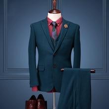 Cajerin 95%wool clothing autumn winter men formal business wedding groom suit sets woolen coat+vest+pant men slim fit suit sets