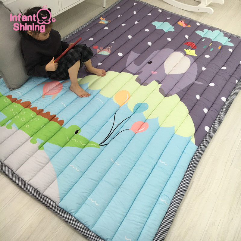 Infant Shining 140X195CM Baby Play Mats 2.5CM Thickening Cartoon Blanket Children Game Carpet Machine Washable Rugs-in Play Mats from Toys & Hobbies