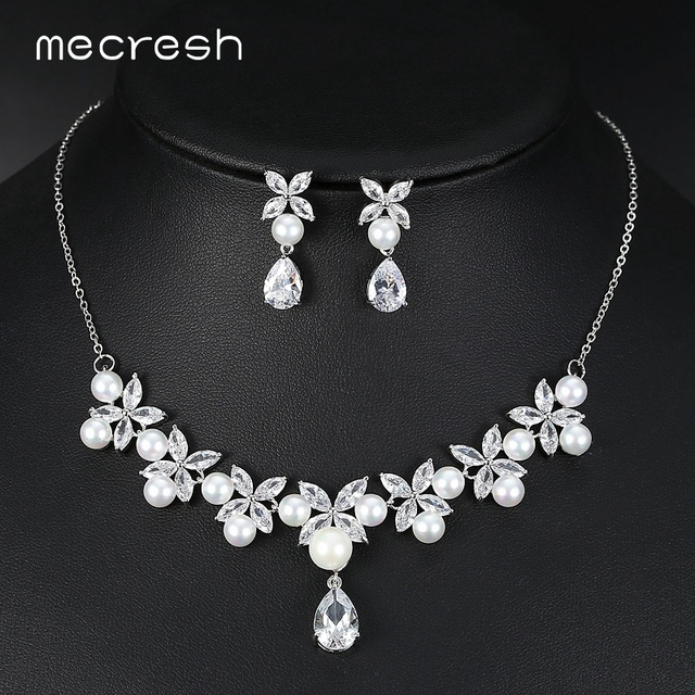 mecresh noble floral cubic zirconia bridal jewelry sets silver color elegant simulated pearl necklace set wedding - Cubic Zirconia Wedding Ring Sets