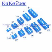Baru Biru Langsung Panggil Kode Switch DIP Switch DS-1P/2 P/3 P/4 P/5 p/6 P/7 P/8 P/9 P/10 P/12 P 2.54 MM Coding Switch DS Pitch Sisi Pin = 2.54 Mm(China)