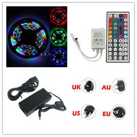 Hot Sales 10M 5050 Waterproof RGB SMD Home Decoration lamp Flexible Light Strip Lamp2*5M+44 key IR+12V 5A Power Supply