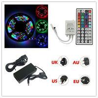Hot Sales 10M 5050 Waterproof RGB SMD Home Decoration lamp Flexible Light Strip Lamp2*5M+44 key IR+12V 5A Power Supply
