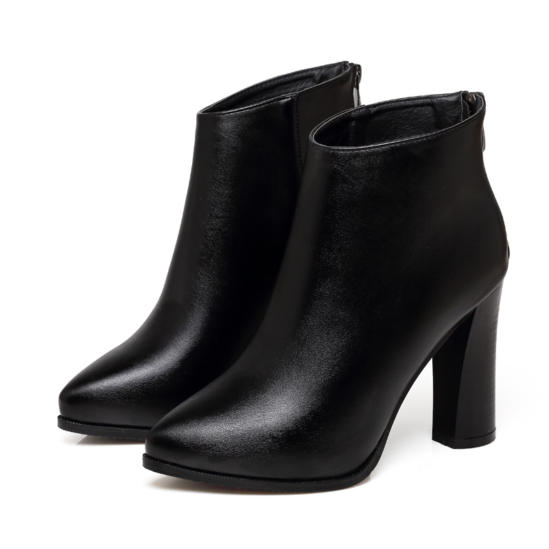 купить Sexy High Heels Ankle Boots Shoes Autumn Spring Fashion Pointed Toe Square Heel Sheepskin Genuine Leather Boots Shoes CH-B0009 по цене 1095.85 рублей