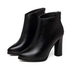 Sexy High Heels Ankle Boots Shoes Autumn Spring Fashion Pointed Toe Square Heel Sheepskin Genuine Leather Boots Shoes CH-B0009 цена в Москве и Питере