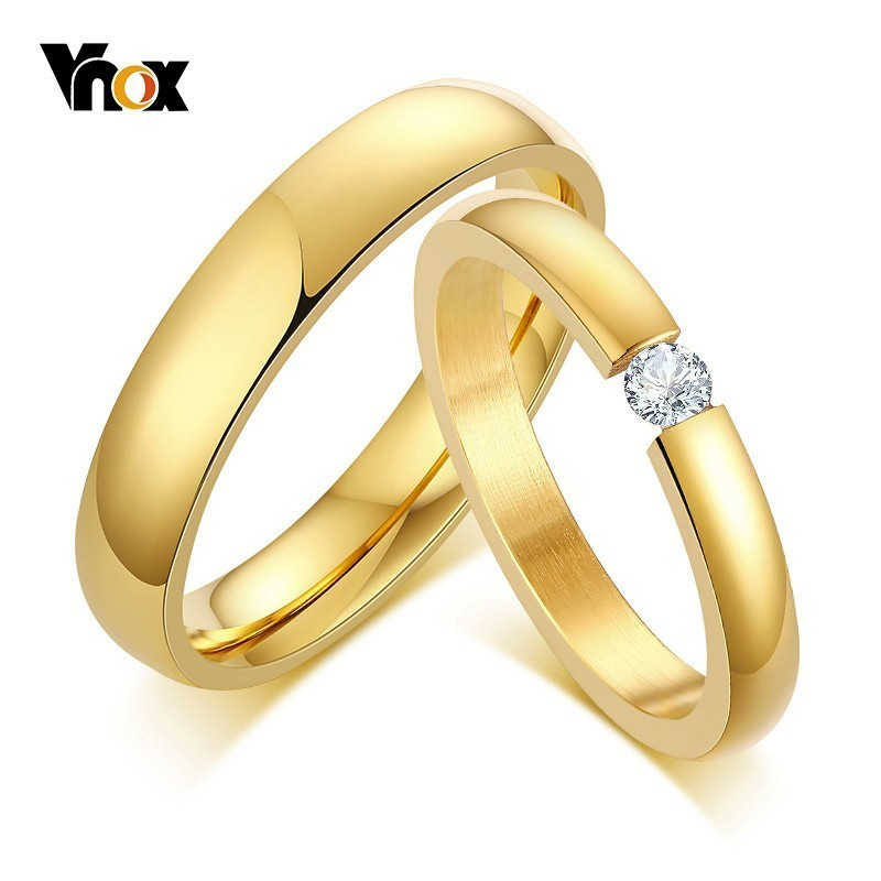 Vnox Couple Rings Anniversary-Rings Solitaire Wedding-Bands Stainless-Steel Classic Women