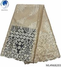 BEAUTIFICAL 2019 New flower lace stones latest tulle fabrics dubai mesh laces wedding fabric high quality ML4N682