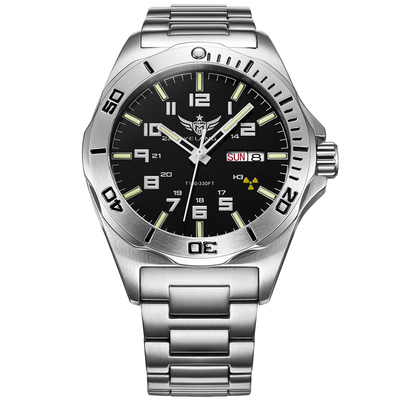 YELANG V1019 mens steel waterproof <font><b>100m</b></font> tritium luminous dual calendar business automatic mechanical wrist watch image