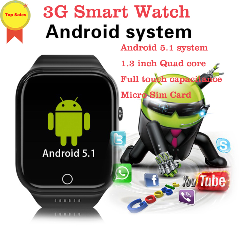 Smart Watch MTK6580 Quad Core 1 3GHZ Android 5 1 3G Smart Watch 600mAh IPS screen 0 3 MP camera Heart Rate Monitor watch pk kw06 in Smart Watches from Consumer Electronics