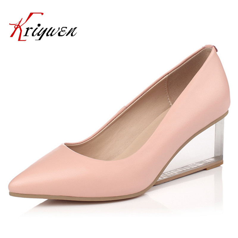 Hot Sale2016 spring autumn Daily Women soft leather Pumps wedges High Heels Genuine Leather Classic Office Shoes Plus size 33-43 247 classic leather