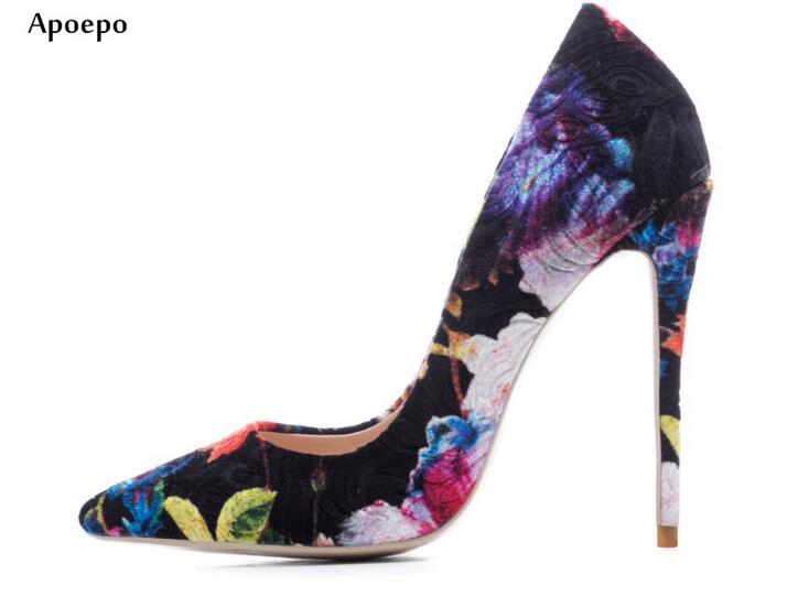 New 2018 Spring Hot Selling High Heel Shoes Sexy Pointed Toe Flower Printed Woman Pumps Slip on Stiletto Heels Party Shoes 2018 spring pointed toe thick heel pumps shoes for women brand designer slip on fashion sexy woman shoes high heels nysiani