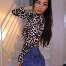 Moda damska body kobiety Sexy Leopard Print body z długim rękawem body Skinny elastyczny trykot body damskie topy tanie tanio Kombinezony i Pajacyki Dzianiny Poliester Elastan Hollow out ZXRYXGS Na co dzień