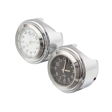 1 Chrome Black Waterproof 7/8 22mm Handlebar Mount Temp Thermometer Clock Watch Instruments Motorcycle Accessories