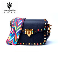 Genuine Leather Crossbody Bags Fashion Colorful Rivet Design Women Shoulder Bags Small Ladies Messenger Bag Bolsos