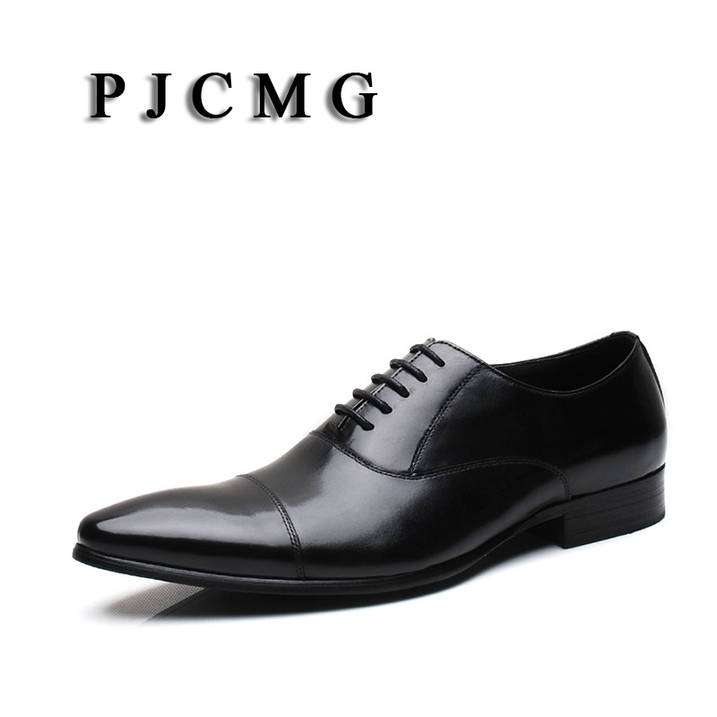 PJCMG New Breathable Mens Business Lace-Up Black/Red Pointed Toe Formal Dress Genuine Leather Wedding Oxfords Office Shoes pjcmg high quality crocodile grain black wine red mens lace up dress genuine leather pointed toe business formal oxfords shoes