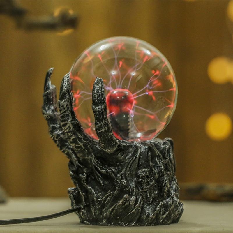 Skull Light-emitting Magic Magnetic Plasma Ball Touch Responsive Electric Ball Ring Light Celular Novelty Night Lights Desk Lamp