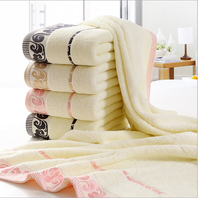 Beige Large Beach Towel Terry Hammam Towels Cloud Pattern Embroidered for Bath Shower Hotel 100% Cotton Soft Microfiber