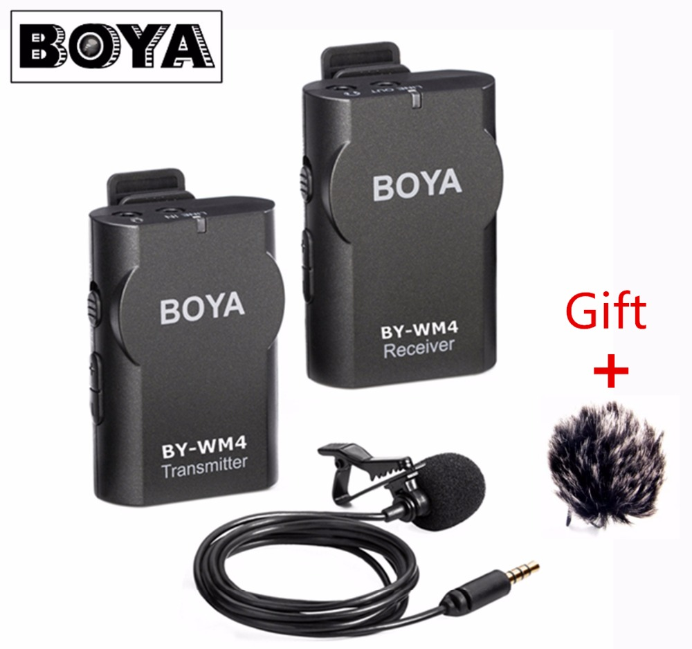 Boya BY-WM4 Professional Wireless Microphone System Lavalier Lapel Mic for Canon Nikon Sony Camcorder Recorder for iPhone 7 8 uwp d11 wireless bodypack lavalier mic system microphone shotgun with smad p3 shoe adapter for sony camera replaces uwp v1