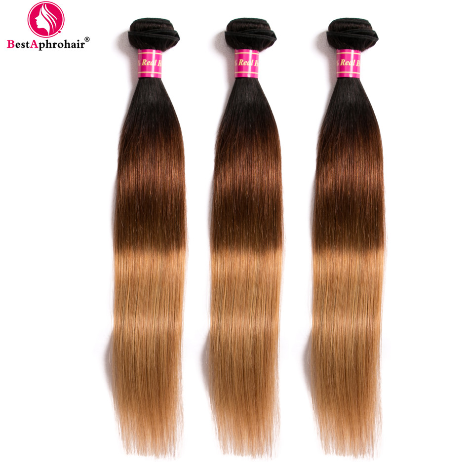 Aphro Three Tone Brazilian Straight Hair Weave 3 Bundle Deals T1b/4/27 Color Ombre Human Hair 100g Bundles Non Remy Hair Weft