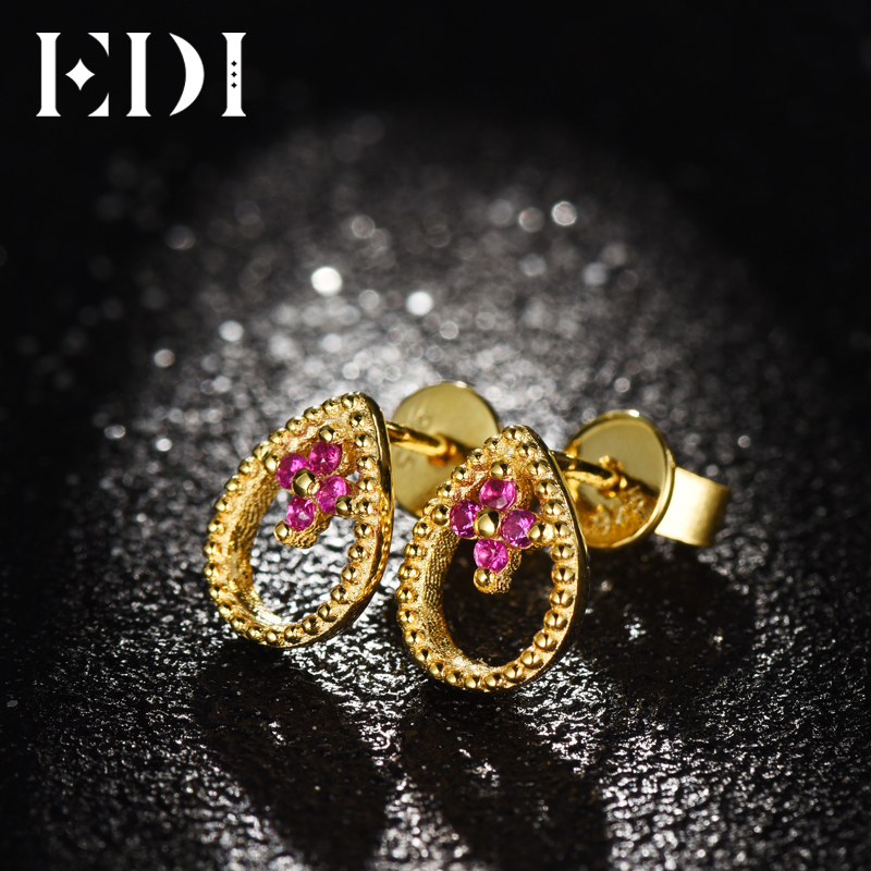 7897f30f3592 ... 14K 585 Yellow Gold Fashion Earrings Women Genuine Natural Ruby. sku   32826228158