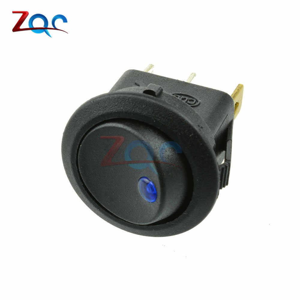 12V LED Dot Lampu Saklar Mobil Otomatis Perahu Bulat Goyang 3Pin On/Off Toggle SPST Switch 4 Warna biru Kuning Merah Hijau