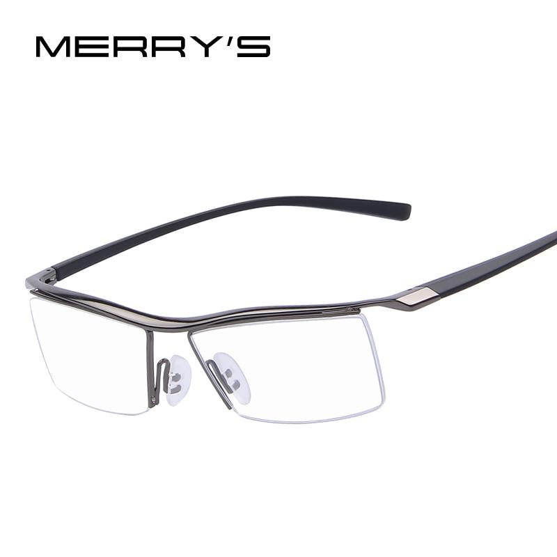 MERRYS Hombres Marcos ópticos Marcos de anteojos Estante Gafas comerciales Marco de anteojos de moda Miopía Marco de titanio TR90 Piernas