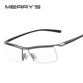 MERRYS Men Optical Frames Eyeglasses Frames Rack Commercial Glasses Fashion Eyeglasses Frame Myopia Titanium Frame TR90 Legs