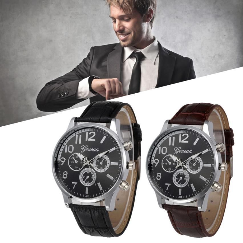 Balck Brown Man male clock hour watches relogio masculino Retro Design Leather Band Analog Alloy Quartz Wrist Watch Clock Alarm fabulous 1pc new women watches retro design leather band simple design hot style analog alloy quartz wrist watch women relogio