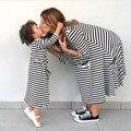 Последние Весной и Летом Стиль Семьи Наряды Мать И Дочь Осень Полный Бальк Полосатом Платье Бесплатная Доставка