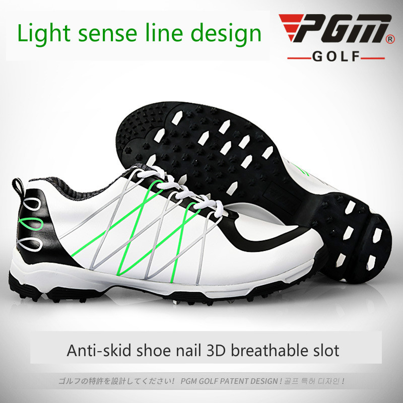PGM microfiber leather breathable waterproof patent men sport shoes activities nail anti-skid good grip resistant golf shoes pgm genuine golf shoes men s double patent golf shoes high performance anti collision exoskeleton anti skid soles