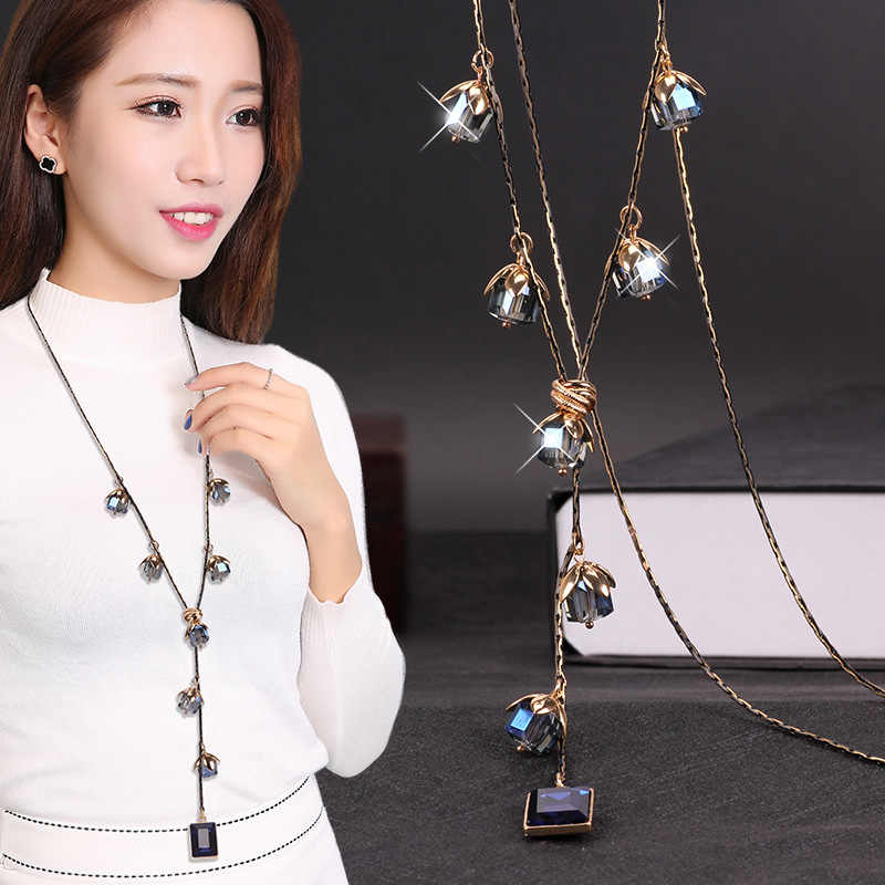 Korean version of the new crystal sweater chain in autumn and winter of 2019 female long Baitao Crystal Necklace accessories