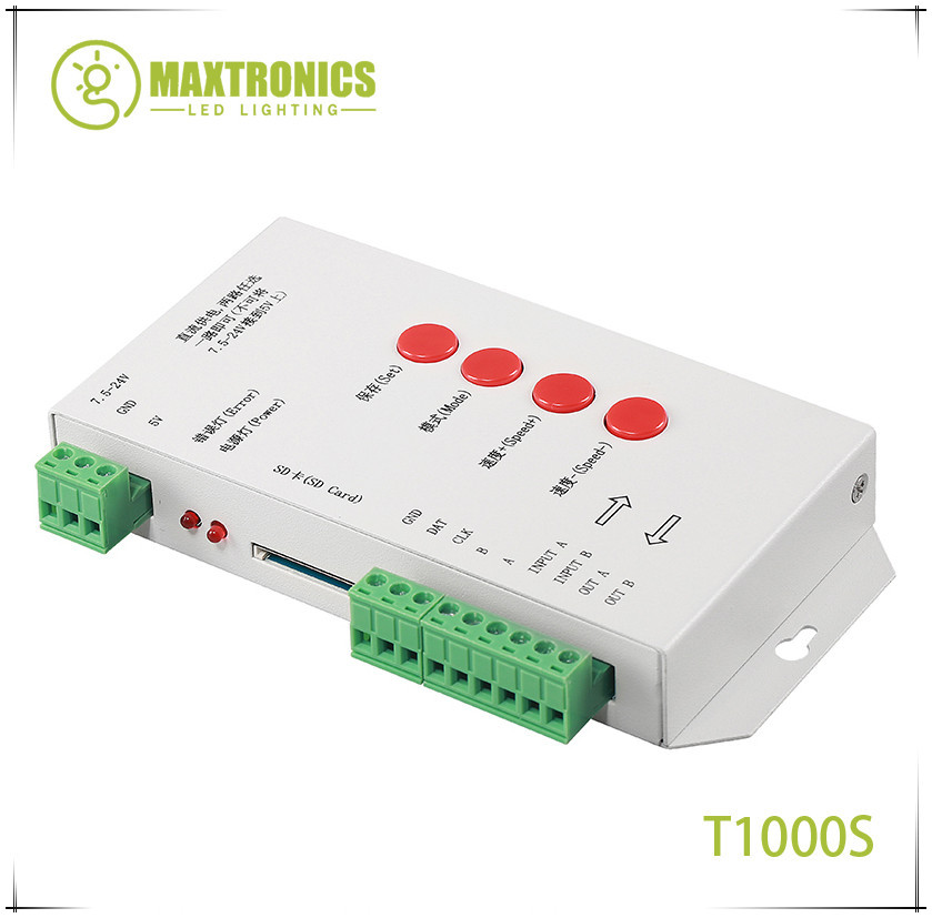 T1000S SD Card WS2801 WS2811 WS2812 WS1903 LPD6803 LED 2048 Pixels Controller DC5~24V T-1000S DMX 512 RGB Controller 2pcs t1000s sd card ws2801 apa102 ws2811 ws2812b lpd6803 led 2048 pixels controller dc5 24v t 1000s rgb controller