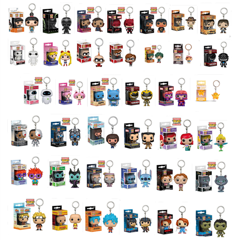 Funko POP Marvel Avengers Goose Stitch ALIEN CHUCKY MALEFICENT Loki Keychain Action Figure Toys For Children Xmas Gift With Box