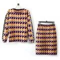 Chándal Jerseys de Punto 2 Unidades Establece Mujeres Suéter de Manga Larga Traje de falda de Cuentas de Collar de cuadrícula de Punto de Ganchillo Blusa Entallada y falda
