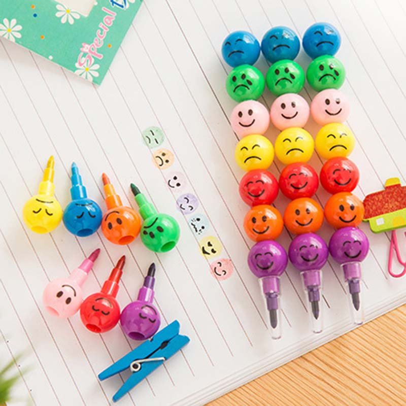 Hot-sale 5pcs/set 7 Colors Creative Drawing Toy Cute Stacker Swap Smile Face Crayons Children Painting Pencil Tool Puzzle Toys
