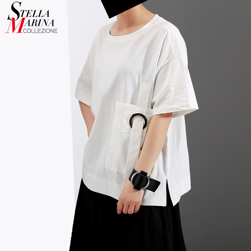 New 2018 Half Sleeve Summer Women Tee Top With Pockets Oversized Metal Hole Tape Girls Special T-shirt Cotton T Shirt Style 7008