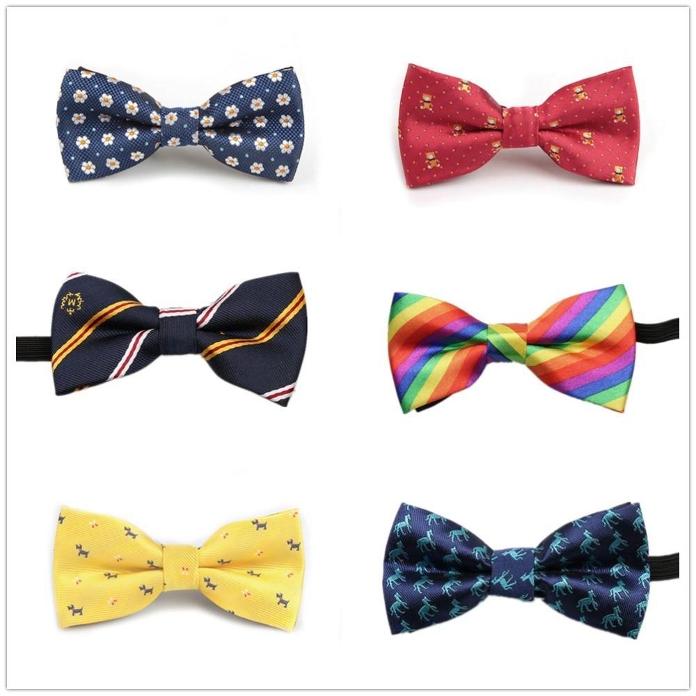 HOOYI Boys Bow Ties Stripe Kids Neckwear Dot Bowtie For Children Cartoon Party Gift Small Size Tie