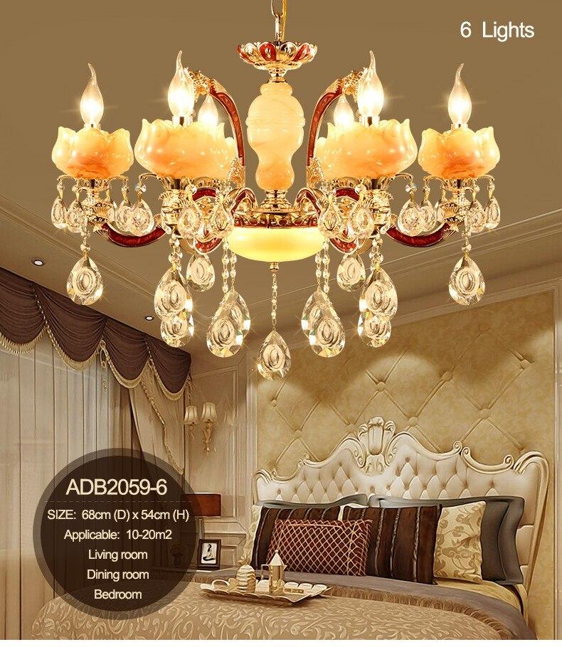 Lujo simulado Jade lámparas de cristal LED iluminación con 6 armas 8 armas 15 armas para la sala iluminación (ADB2059)