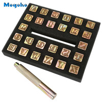 Mogoko Leathercraft Metal Alphabet Set 13mm, 26 Letters Imprinted Metal Leather Punching Tools for Leather Belt Bag Hat Shoes
