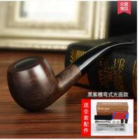 Black rosewood wood pipe vintage hemp filter yuba curved pipe tobacco smoking Authors authentic men