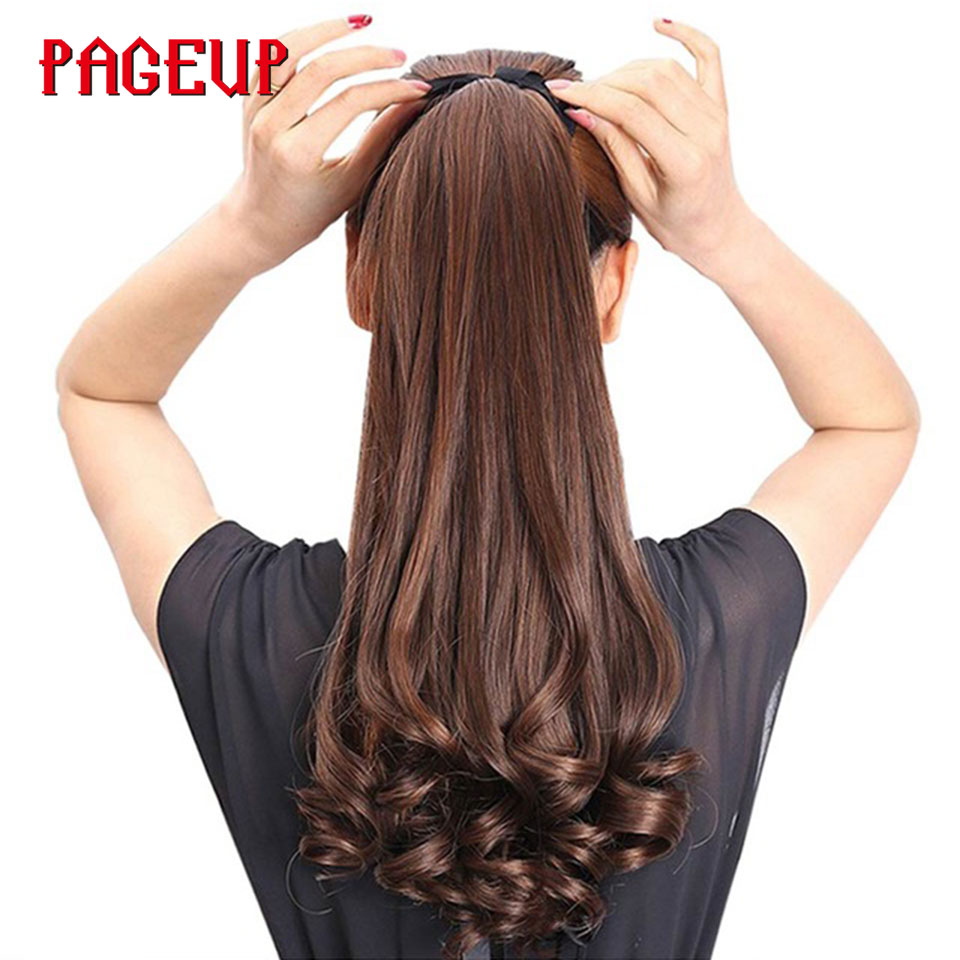 Pageup Long Curly Synthetic Ponytail Clip In Ponytail Claw Drawstring Ponytail Heat Resistant Clip In Hair Extensions Hair Tail