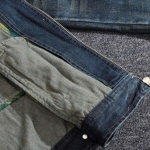 Image 4 - Mens ג ינס מעיל רחוב צווארון עומד רוכסן Biker סגנון קאובוי ארוך שרוול מעיל קלאסי בציר היפ הופ ז אן מעיל להאריך ימים יותר