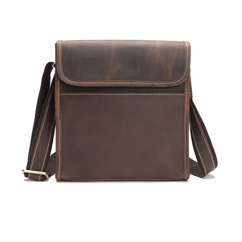 Crazy Horse Leather Men Messenger Bag Casual Crossbody Bag Business Men's Handbag Bags For Gift Shoulder Bags Men BF-1088 casual canvas women men satchel shoulder bags high quality crossbody messenger bags men military travel bag business leisure bag
