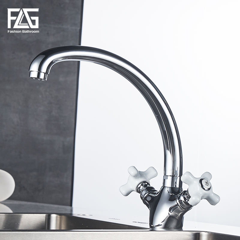 FLG Classic Style Kitchen Faucet Cold and Hot Water Mixer Tap Double Handle Torneira Cozinha 360 Degree Rotation цена