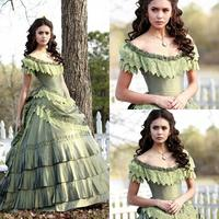 Retro Nina In Vampire Diary Vintage Quinceanera Dresses Lace Tiered Scoop Ball Gown Formal Prom Gowns Full length Taffeta